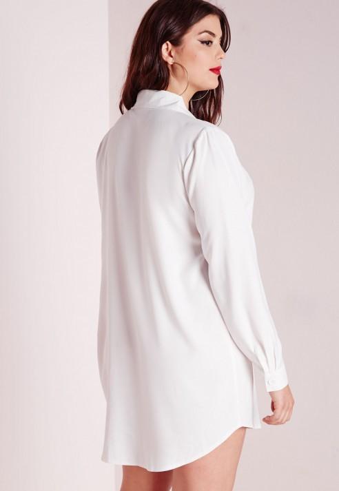 Lyst - Missguided Plus Size Tuxedo Shirt Dress White in White