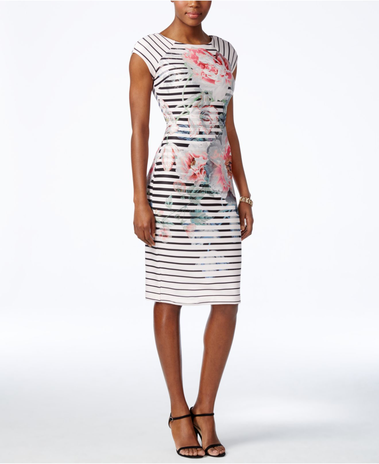 Eci Striped Floral-print Scuba Dress in White