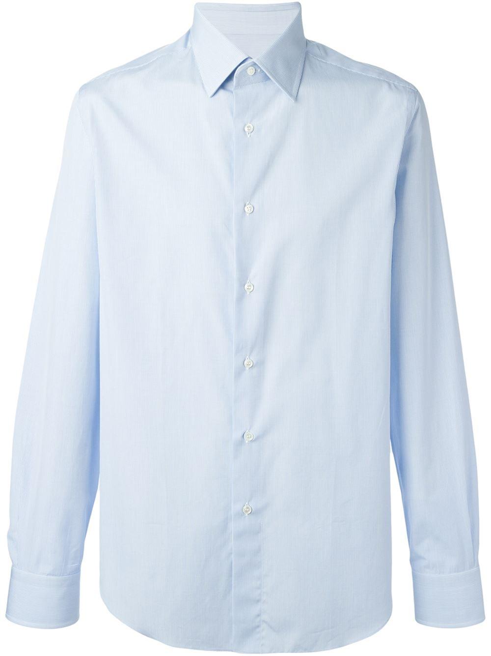 Brioni blue classic button down shirt for men lyst for Preppy button down shirts