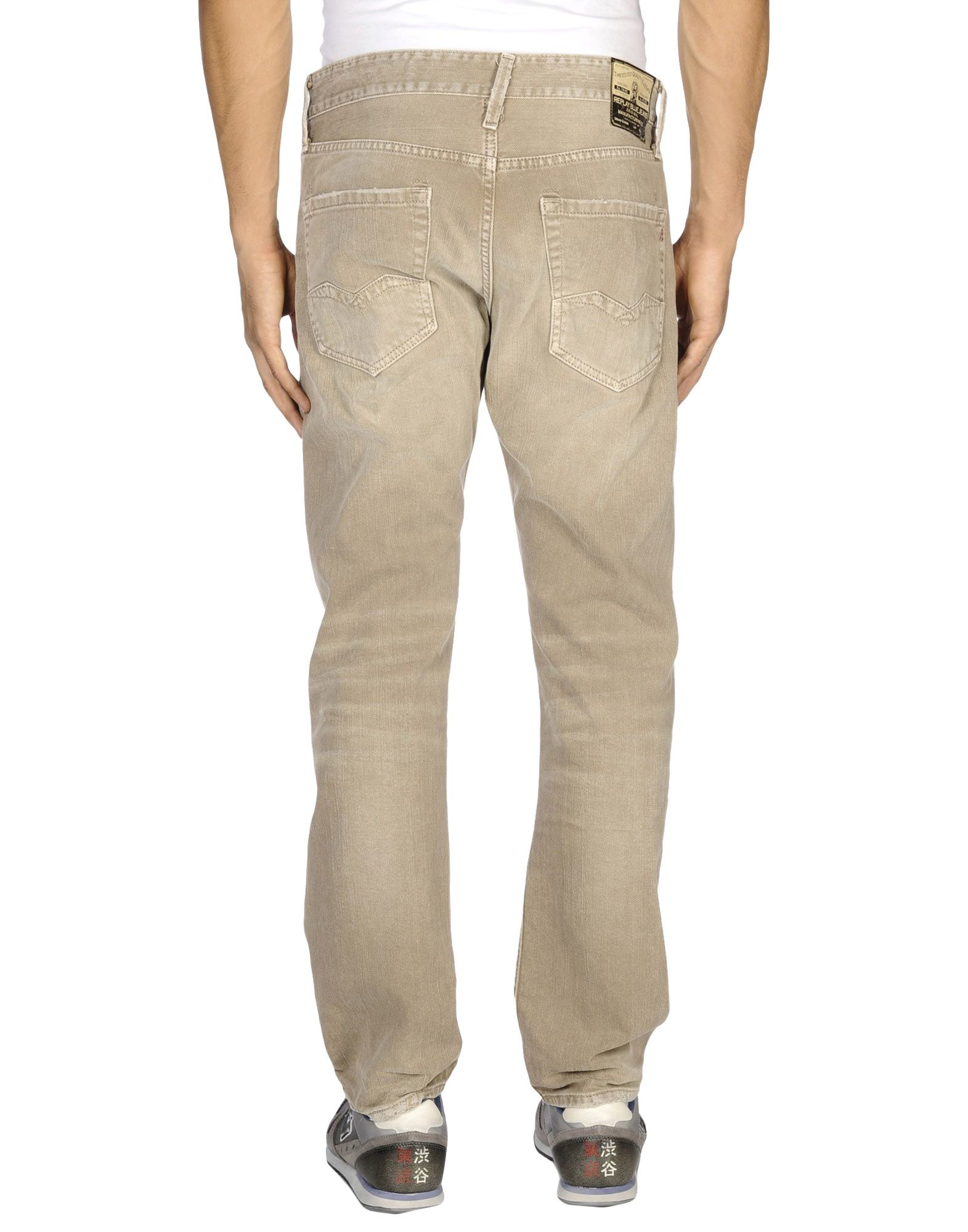 Replay Denim Trousers in Beige for Men | Lyst