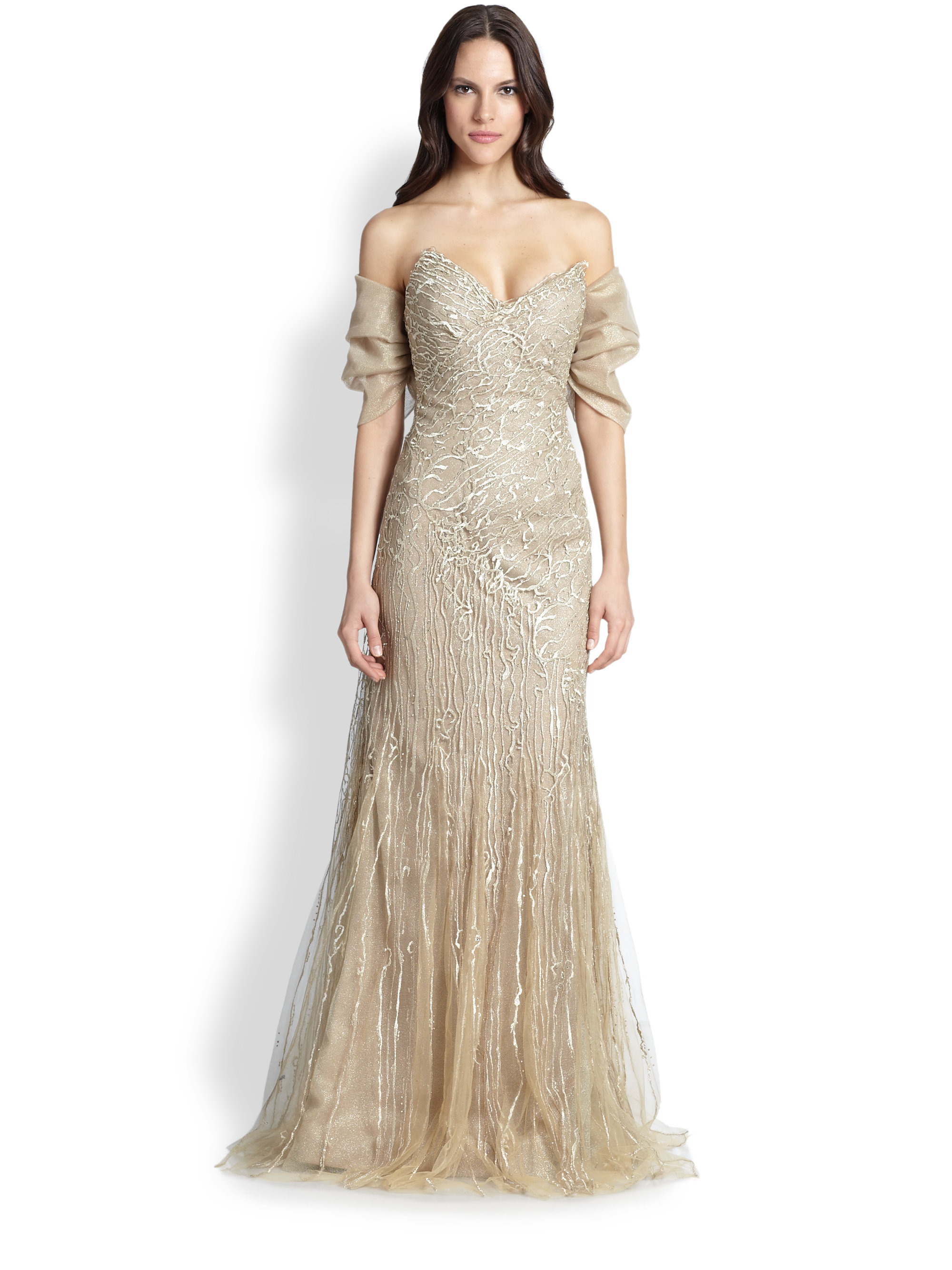 3dc3600aa Rene Ruiz Strapless Embroidered Tulle Gown & Shrug in Metallic - Lyst