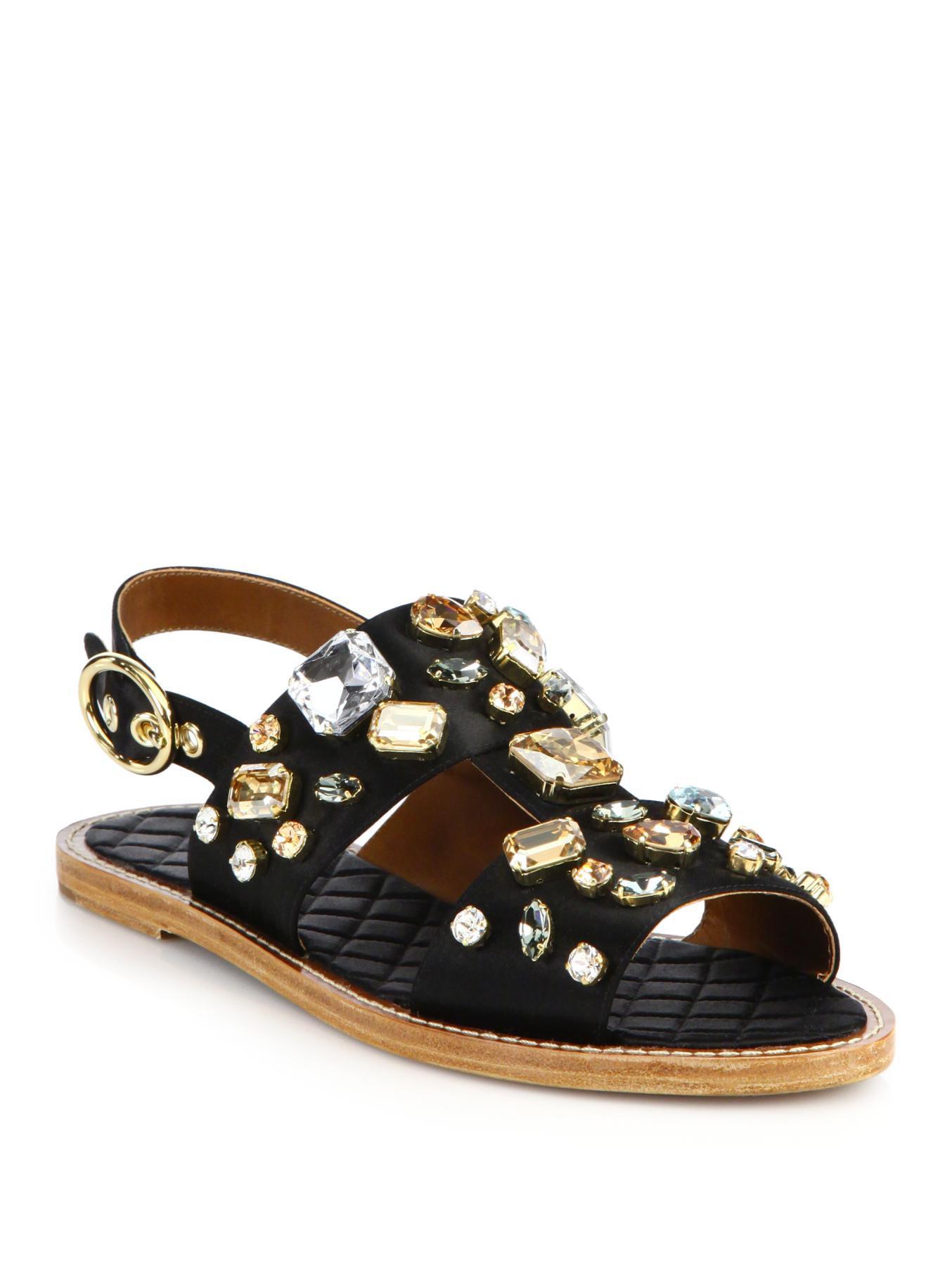 Dolce Amp Gabbana Embellished Satin Sandals Lyst
