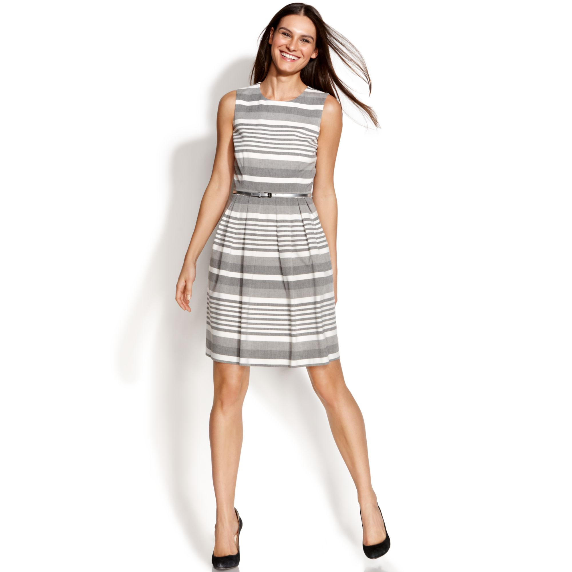 Calvin Klein Sleeveless Pleated Striped Dress In Gray Lyst