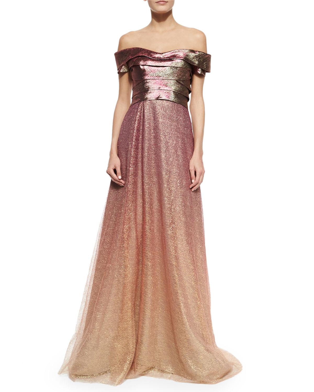 Lyst - Rene Ruiz Off-the-shoulder Ombre Gown in Pink