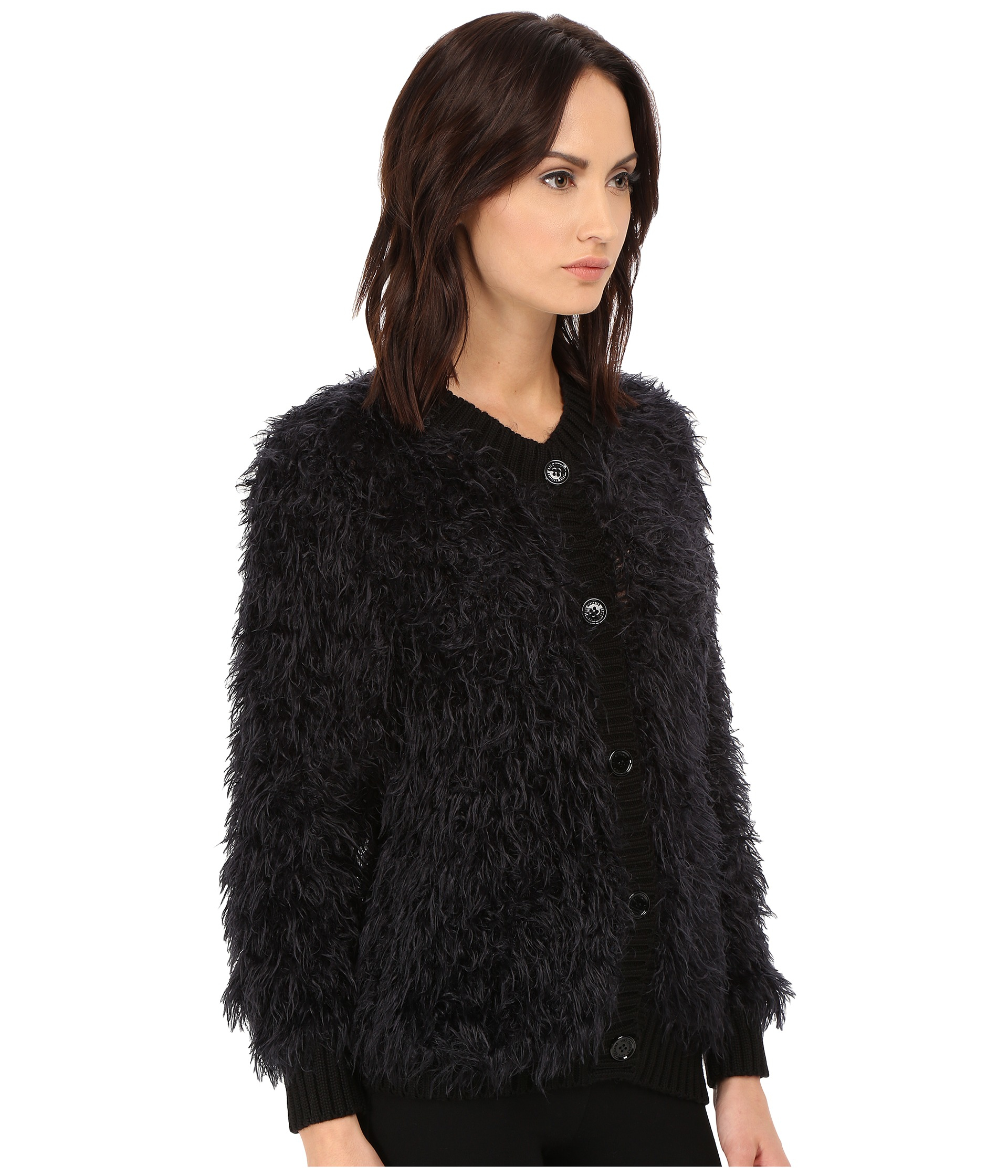 Love moschino Furry Cardigan Sweater in Black | Lyst
