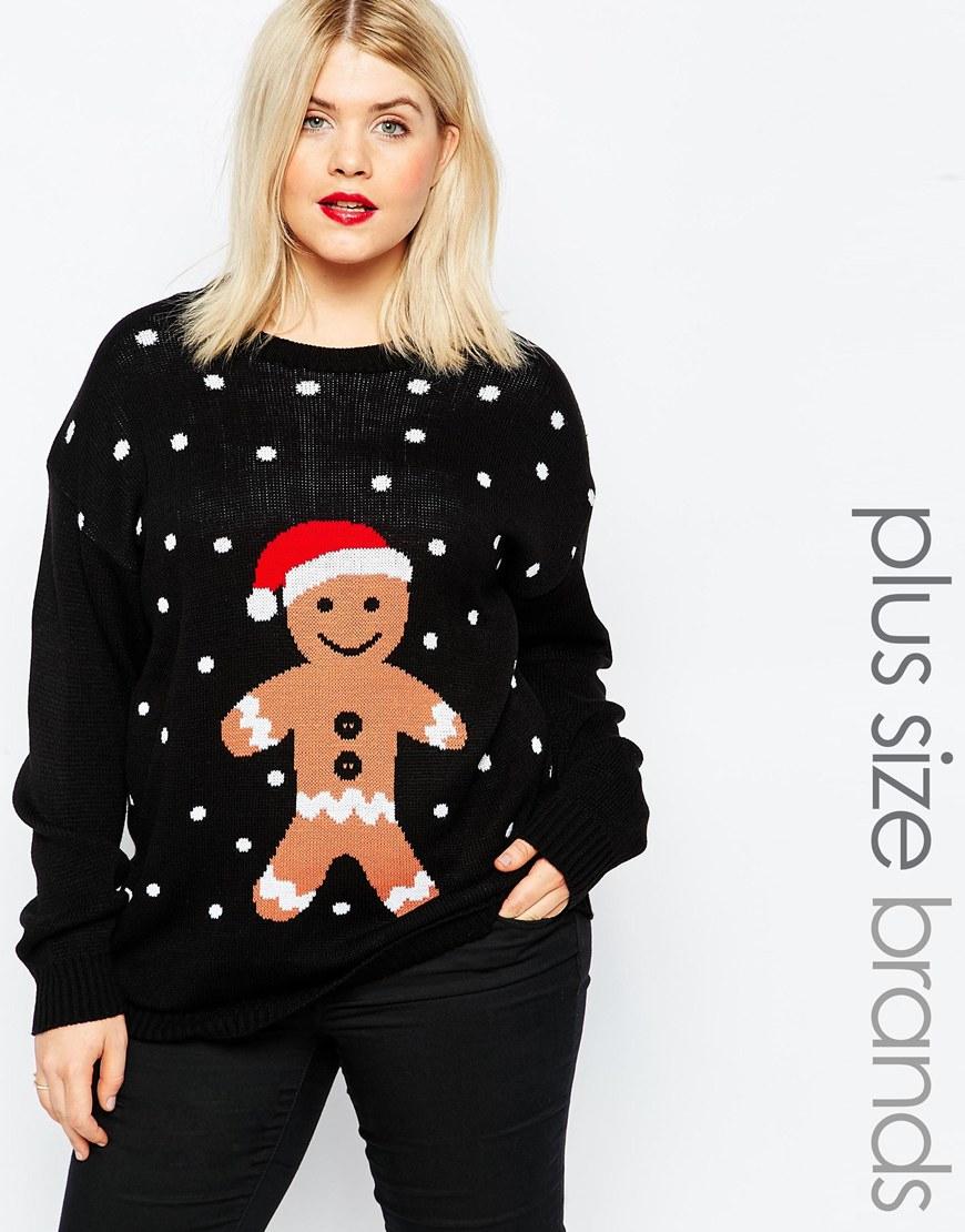 Club l Plus Gingerbread Man Christmas Jumper in Black
