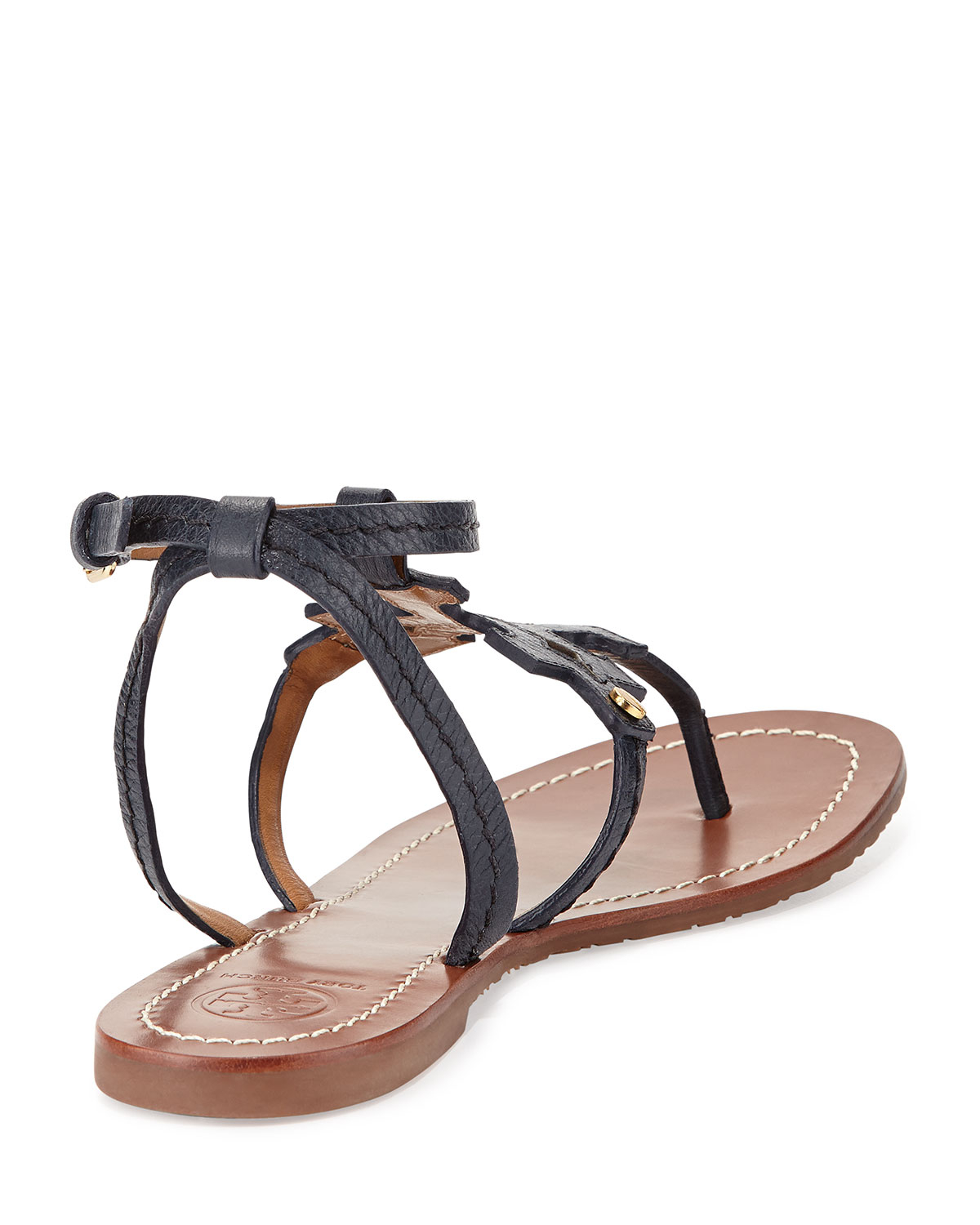 077ab71389ee49 Lyst - Tory Burch Phoebe Leather Flat Sandal in Black