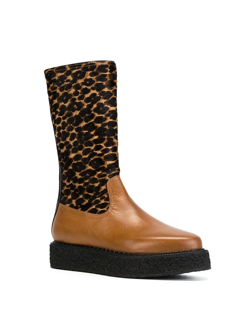antonio marras leopard print platform boots in black lyst
