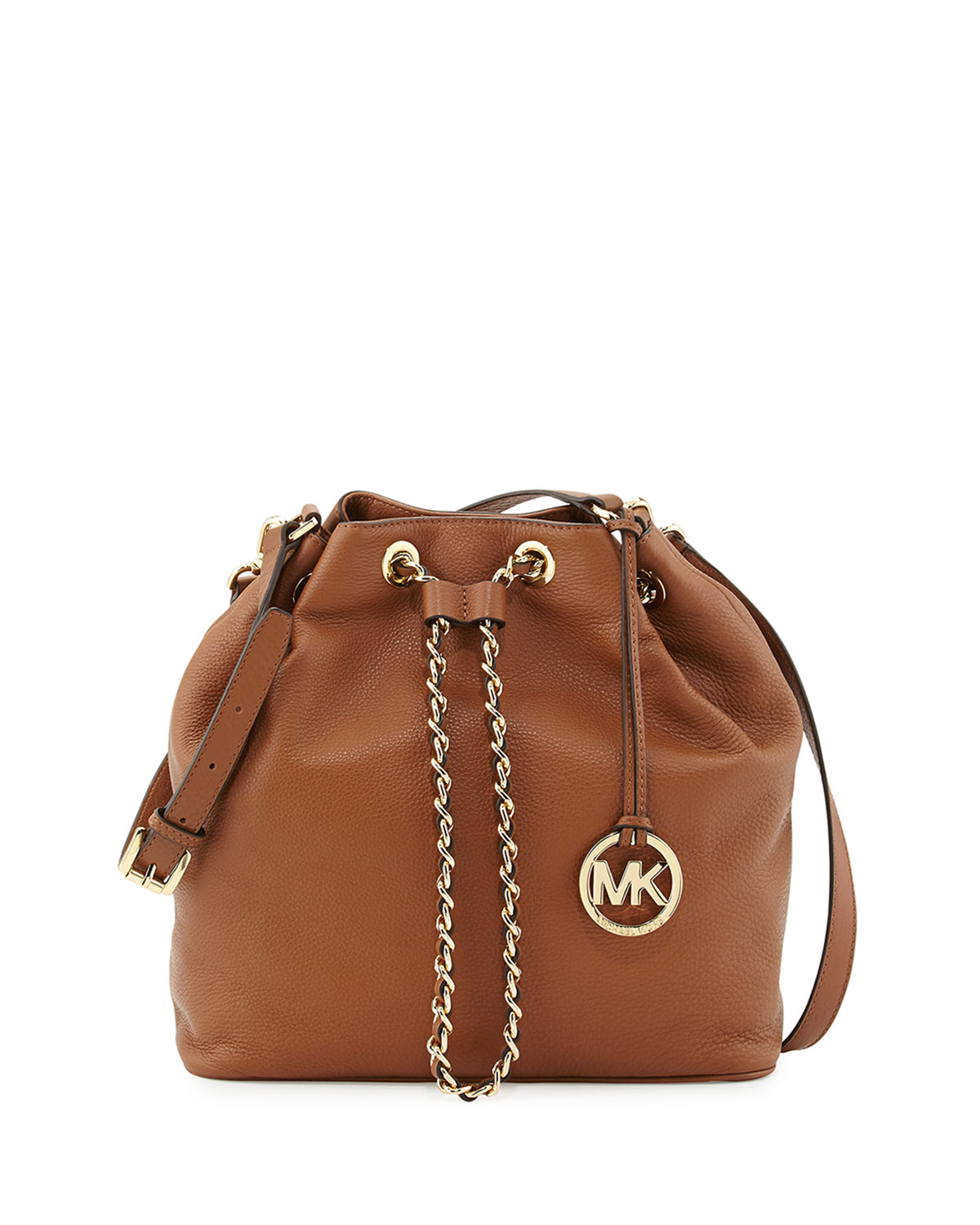 michael michael kors large frankie drawstring shoulder bag luggage in brown jet lyst. Black Bedroom Furniture Sets. Home Design Ideas