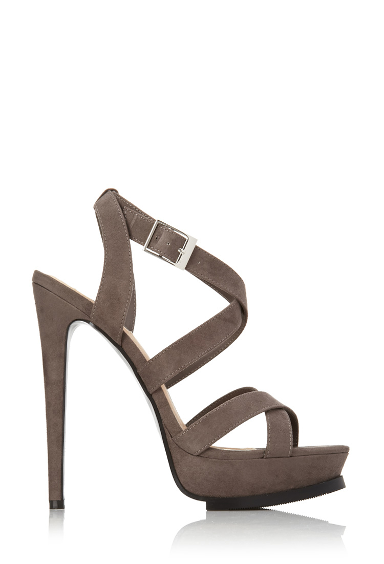 525b20f1841 Lyst - Forever 21 Strappy Platform Sandals in Gray