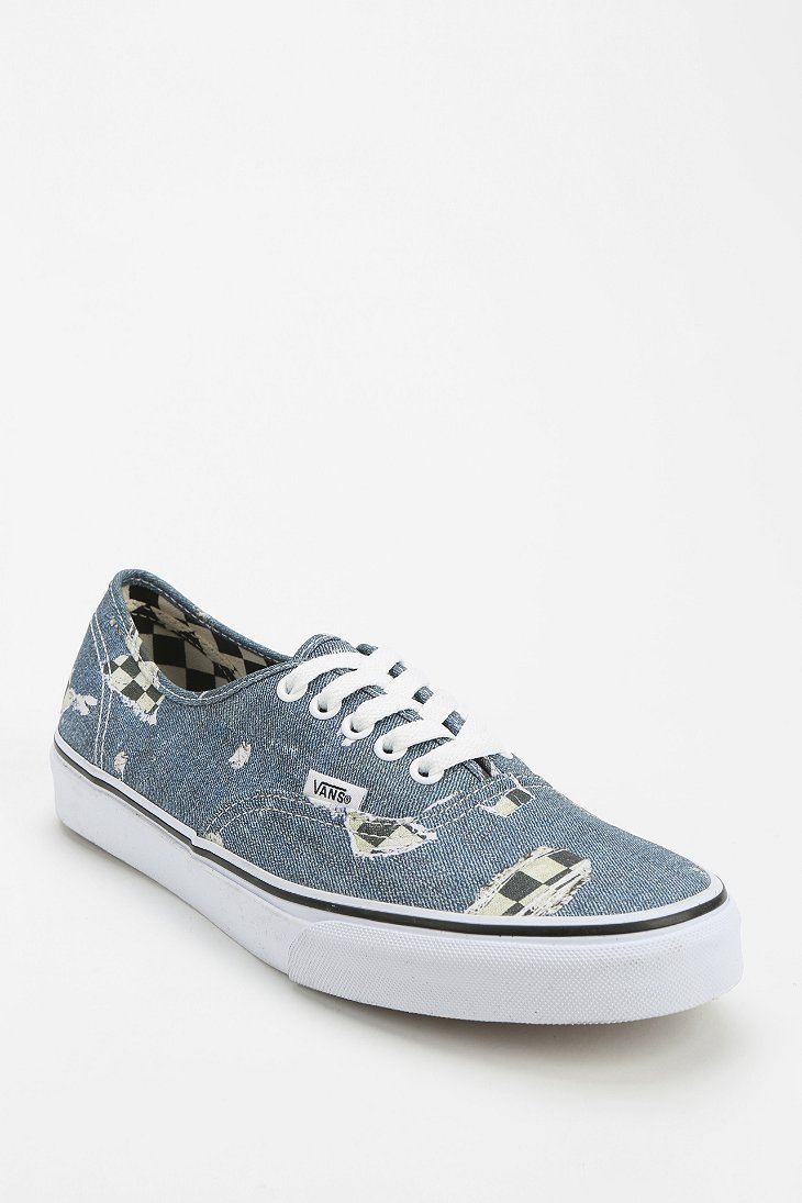 Urban Outfitters Authentic Checkered Denim Womens Lowtop Sneaker in Blue | Lyst