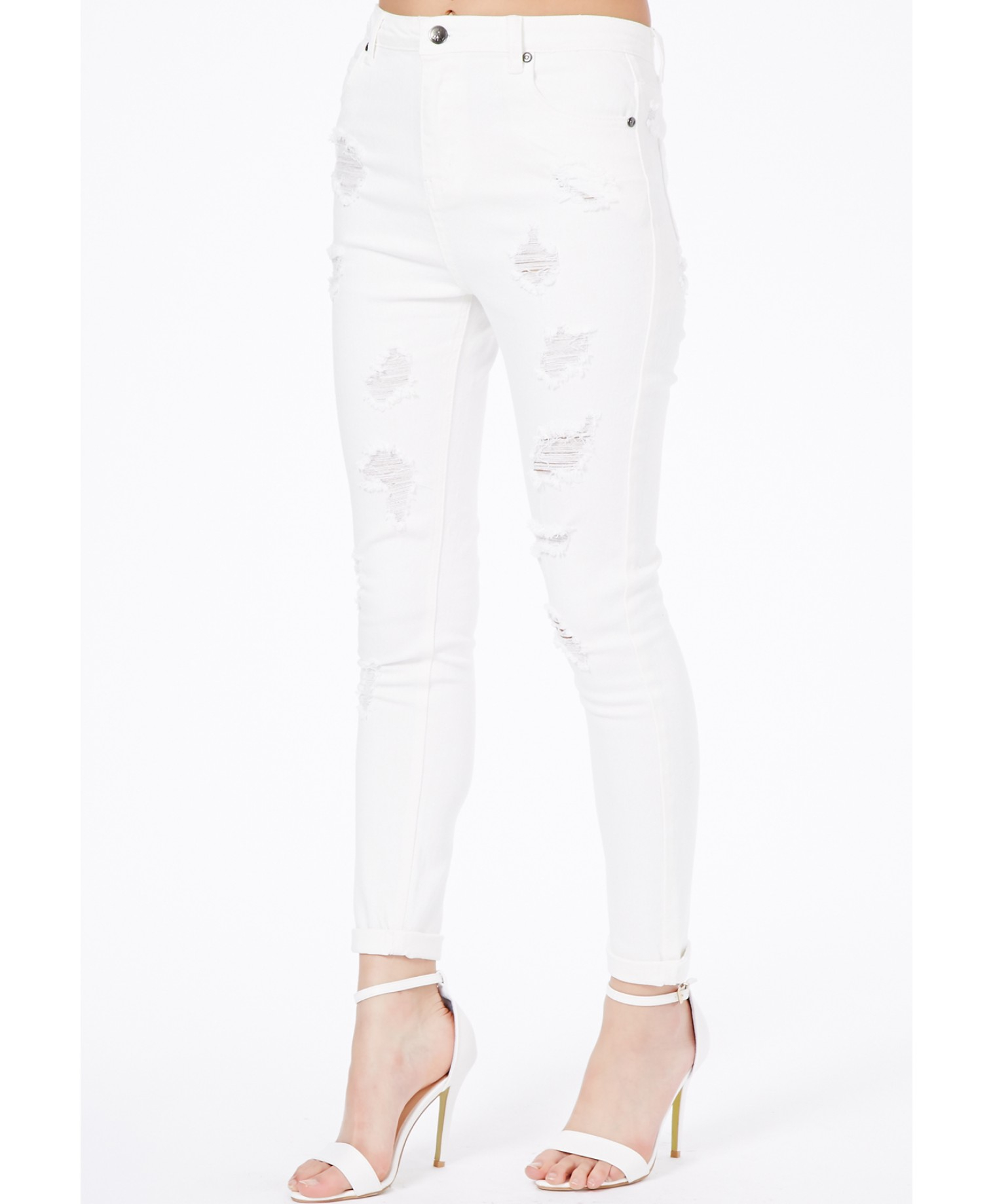 Missguided Edie High Waist Extreme Ripped Skinny Jeans In White in ...