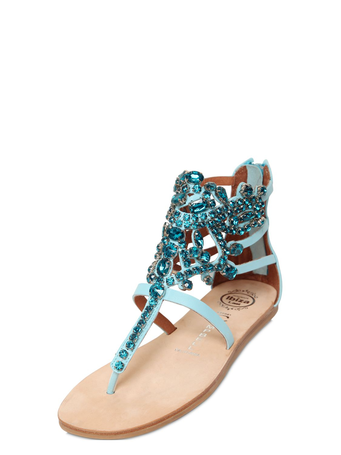 Jeffrey Campbell 10mm Jeweled Leather Sandals In Blue Lyst