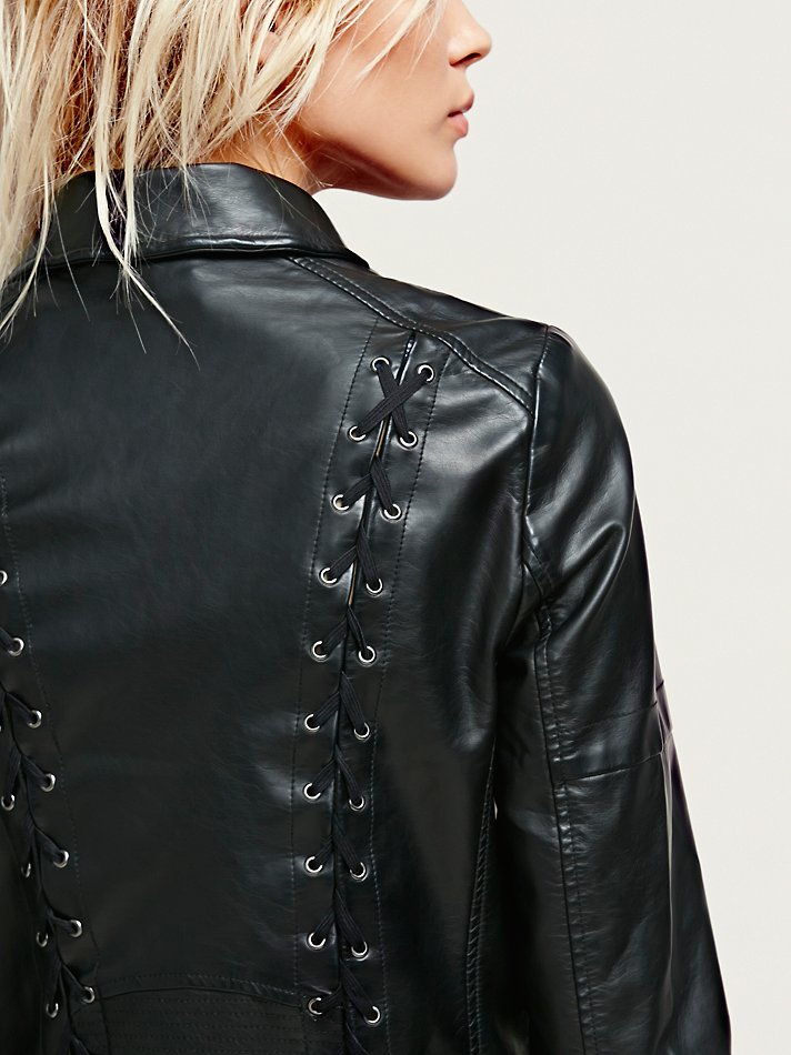 Free People Womens Stand Behind Me Vegan Leather Jacket In