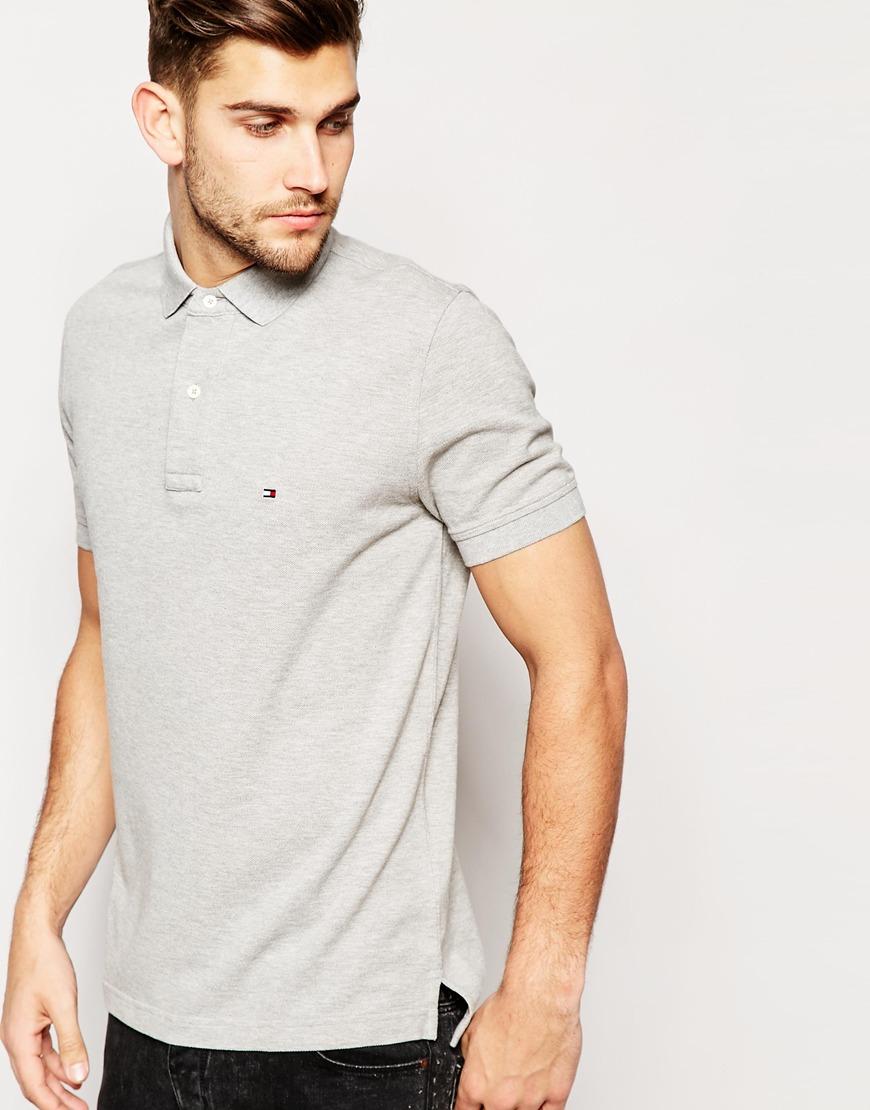 lyst tommy hilfiger polo shirt with flag logo regular fit in gray for men. Black Bedroom Furniture Sets. Home Design Ideas