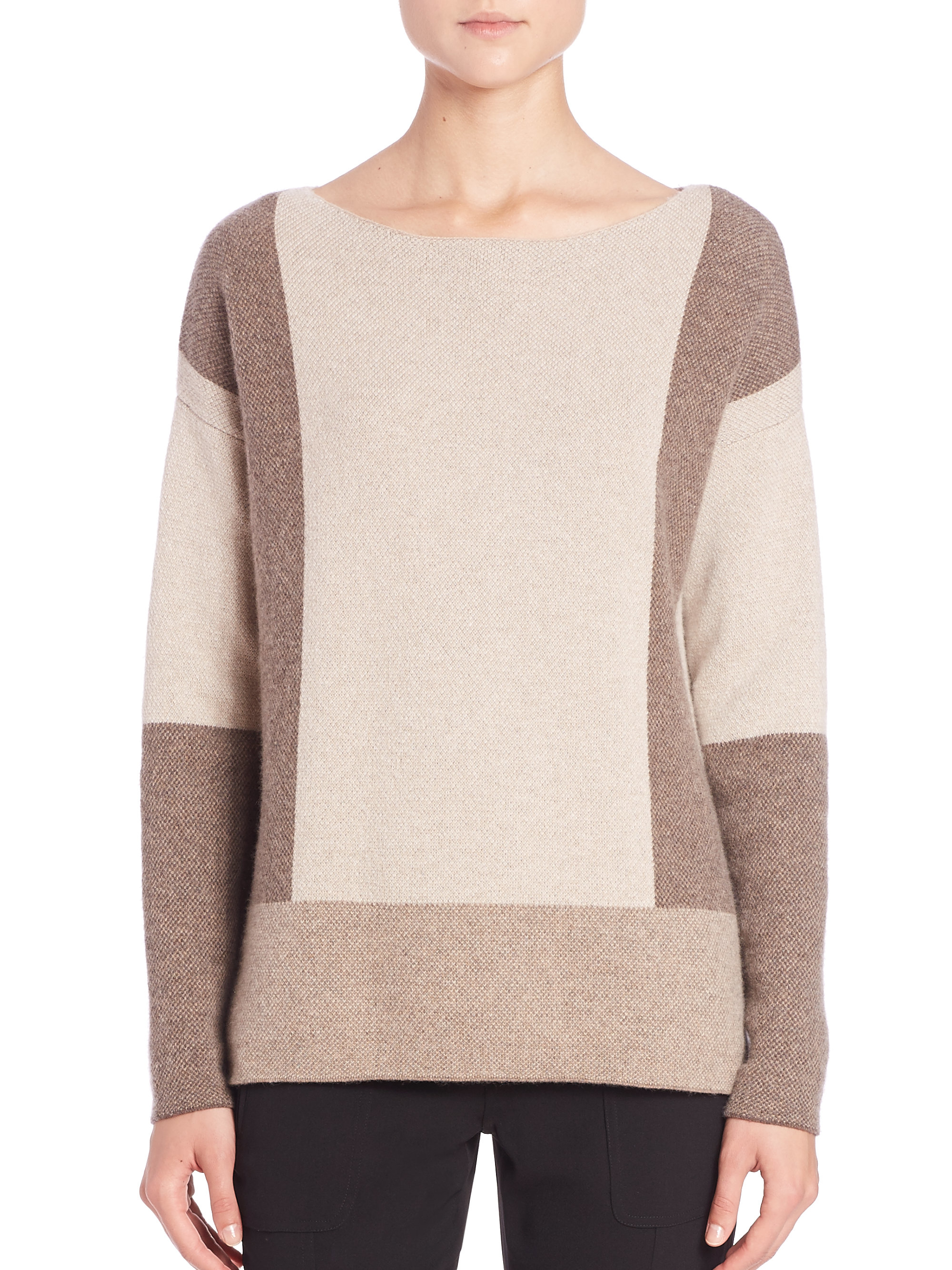 Vince Colorblock Intarsia Wool & Cashmere Sweater in ...