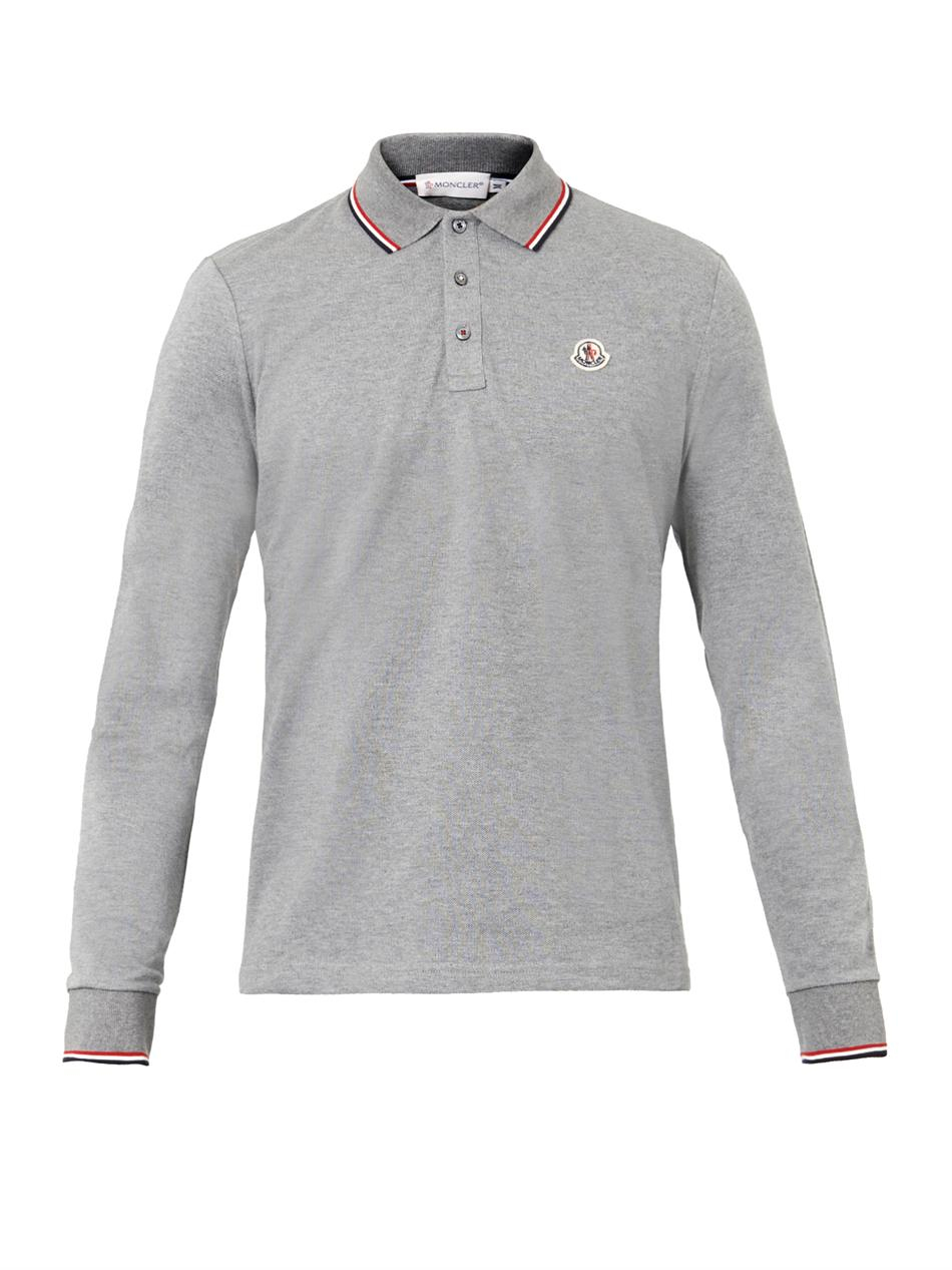 Moncler logobadge longsleeved polo shirt in gray for men for Grey long sleeve shirts