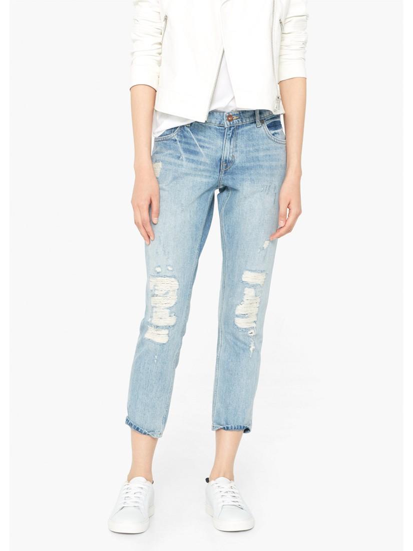 98f79f9620 Mango Slim-fit Cropped Nancy Jeans in Blue - Lyst