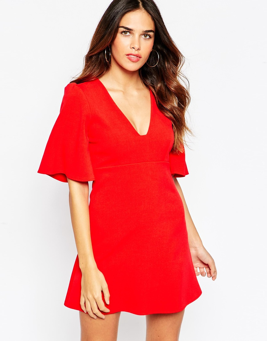 Dress Square Double Thai 100 Viscose: Asos Skater Dress With Square Neck And Angel Sleeves In