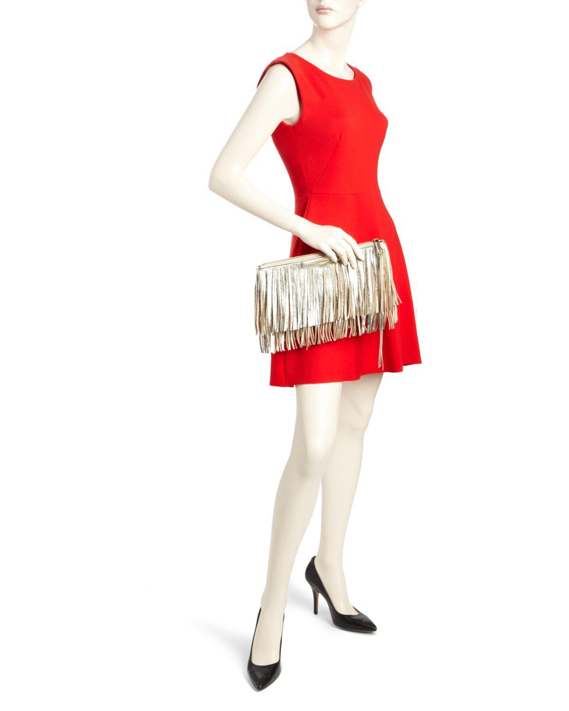 0f71925c085c Rebecca Minkoff Gray Finn Metallic Fringe Crossbody Bag