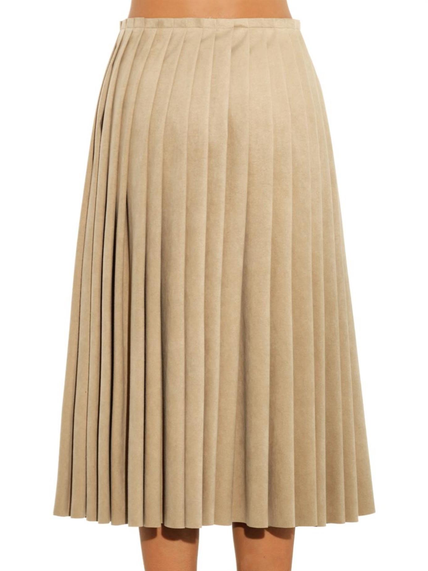 Acne studios Kensington Faux-Suede Pleated Skirt in ...