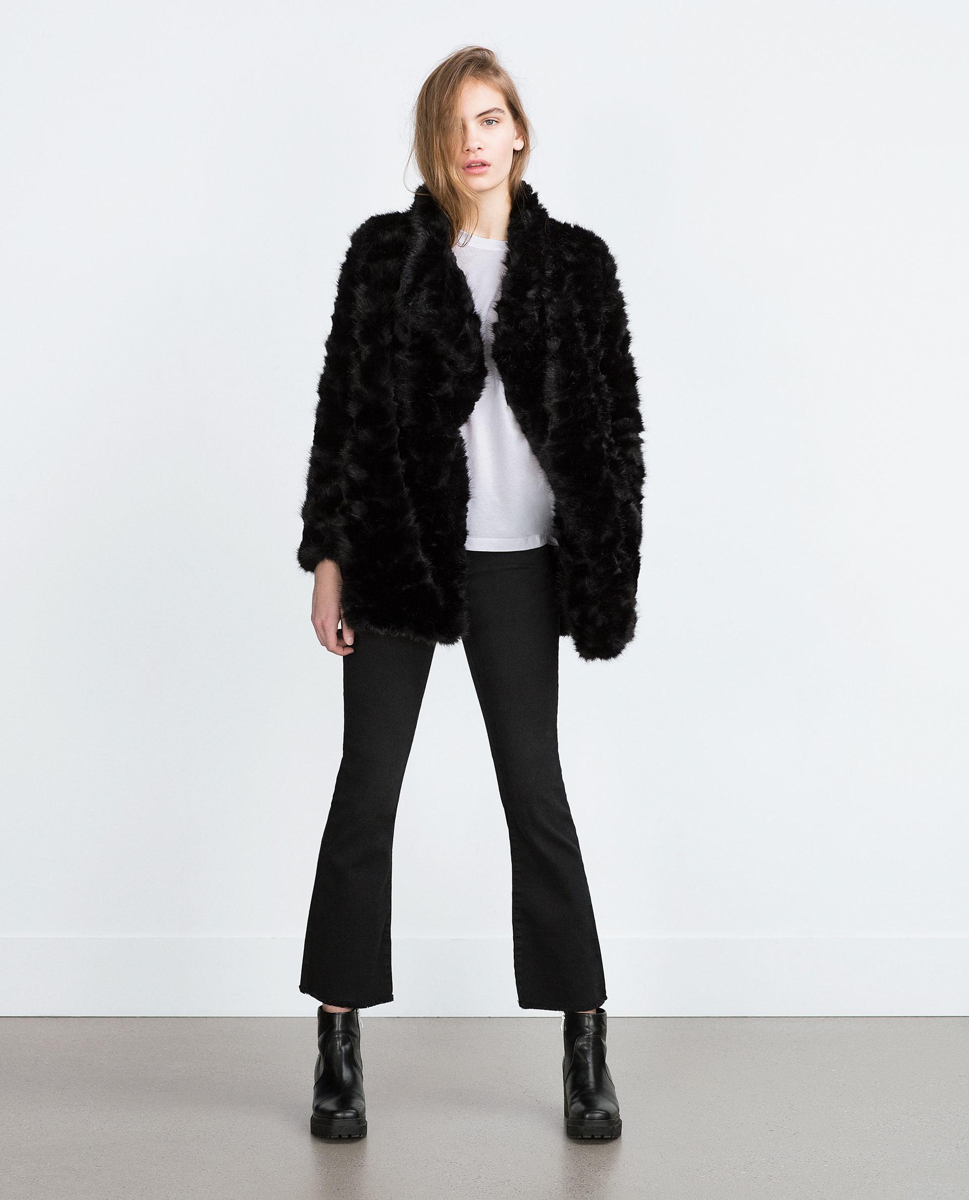 0fb3f199c8 Zara Fur Coat | eBay