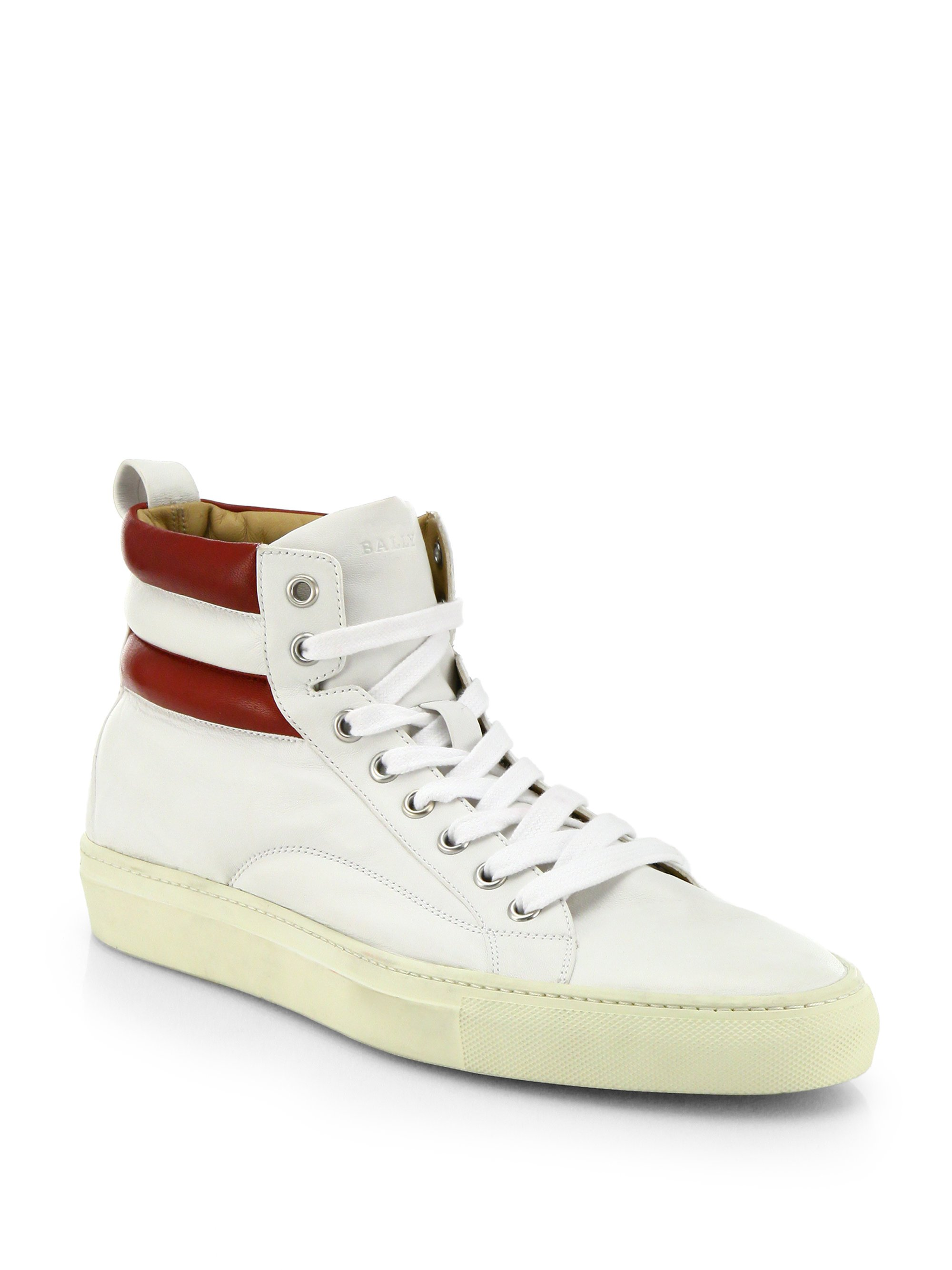 Bally Leather High-Top Sneakers In White For Men