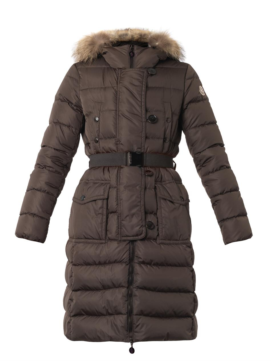Moncler Genevrier Furtrim Quilted Down Coat in Green | Lyst