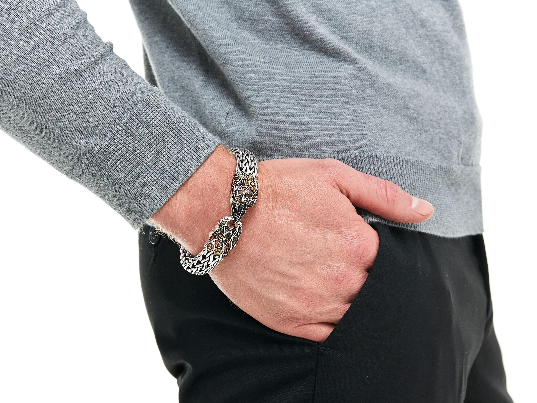 John Hardy Mens Silver Eagle Head Leather Bracelet OeB8Dkg