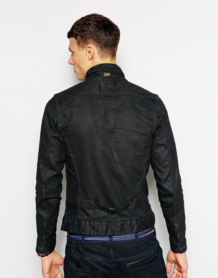 g star raw g star denim jacket new riley slim 3d dark aged zip front in black for men lyst. Black Bedroom Furniture Sets. Home Design Ideas