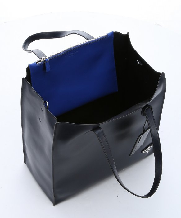 ba8bec23dc79 ... shop lyst prada baltic blue calfskin large convertible shopper tote in  blue ee4d0 7e400