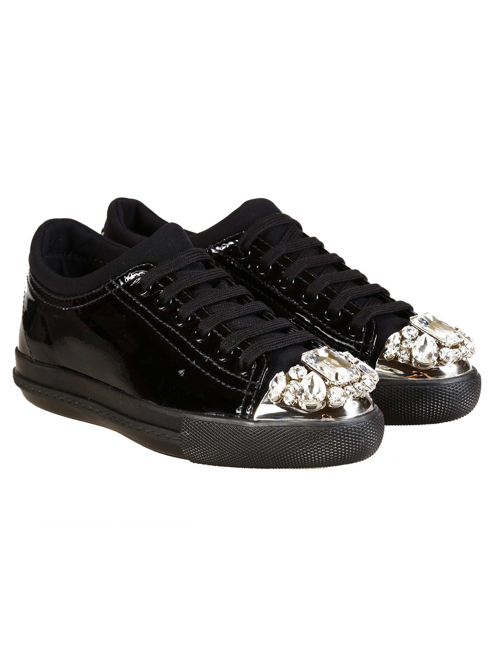 miu miu embellished sneakers in black lyst. Black Bedroom Furniture Sets. Home Design Ideas