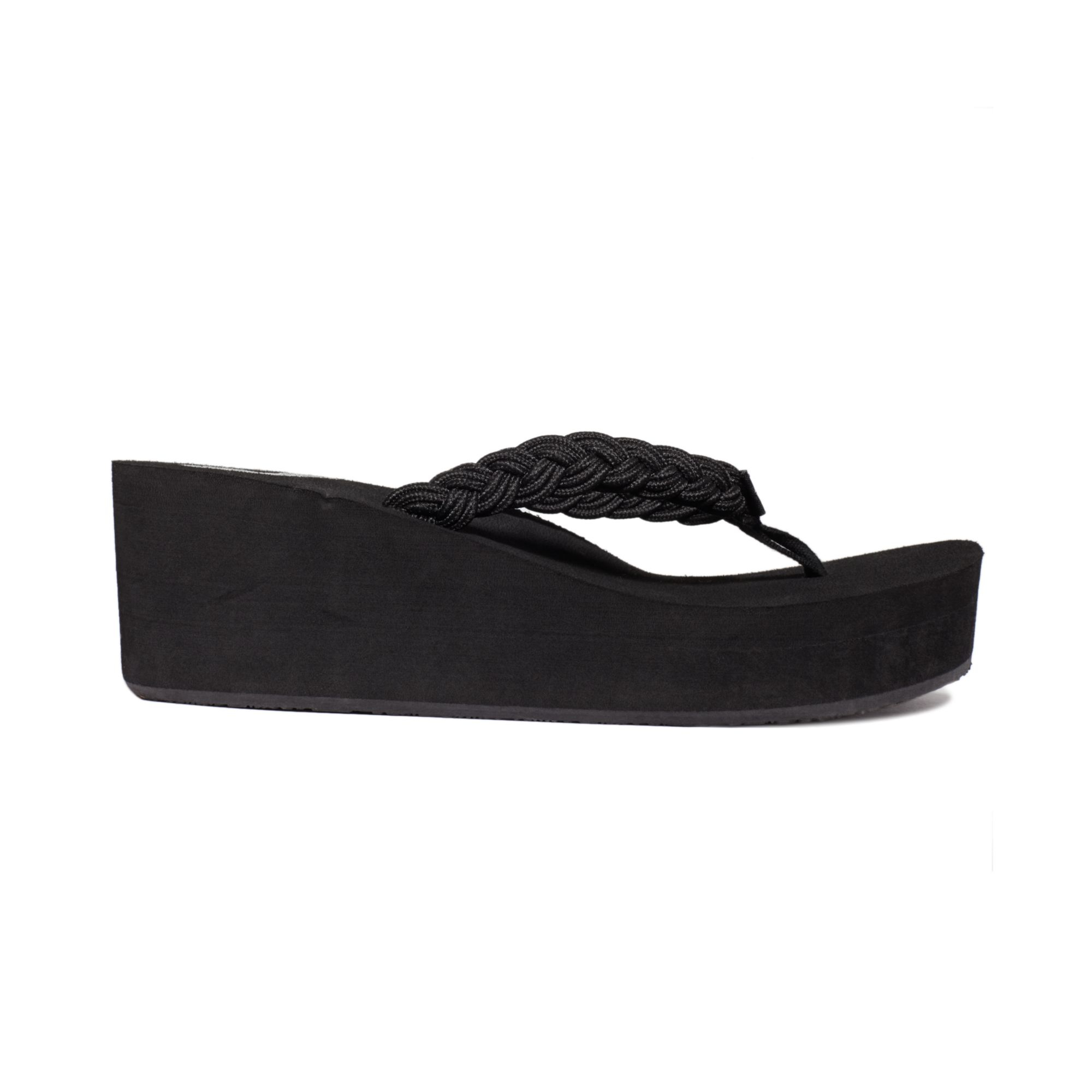 Lyst - Roxy Tidal Wave Braided Wedge Thong Sandals In Black-6824