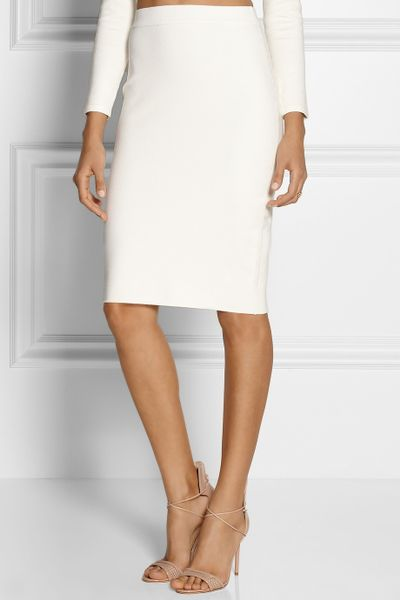 jonathan simkhai stretch knit pencil skirt in white brown