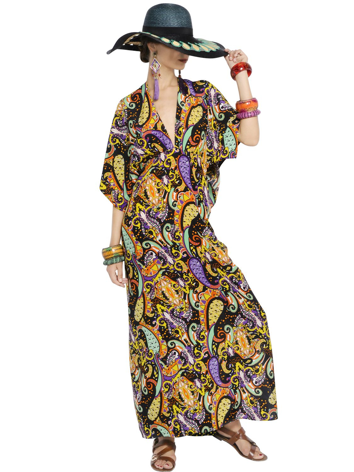 Etro printed silk crepe de chine caftan dress in orange lyst for Caftan avec satin de chaise