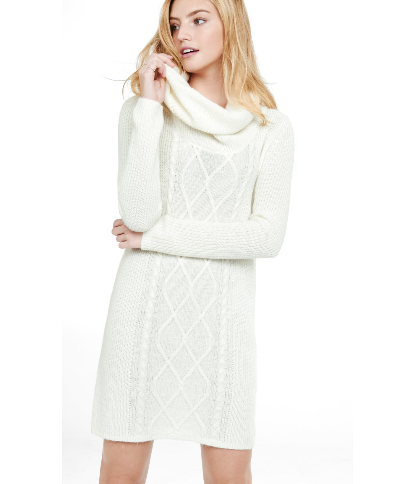 Cowl Neck Dress: Express Soft Ivory Cowl Neck Mixed Knit Sweater Dress In