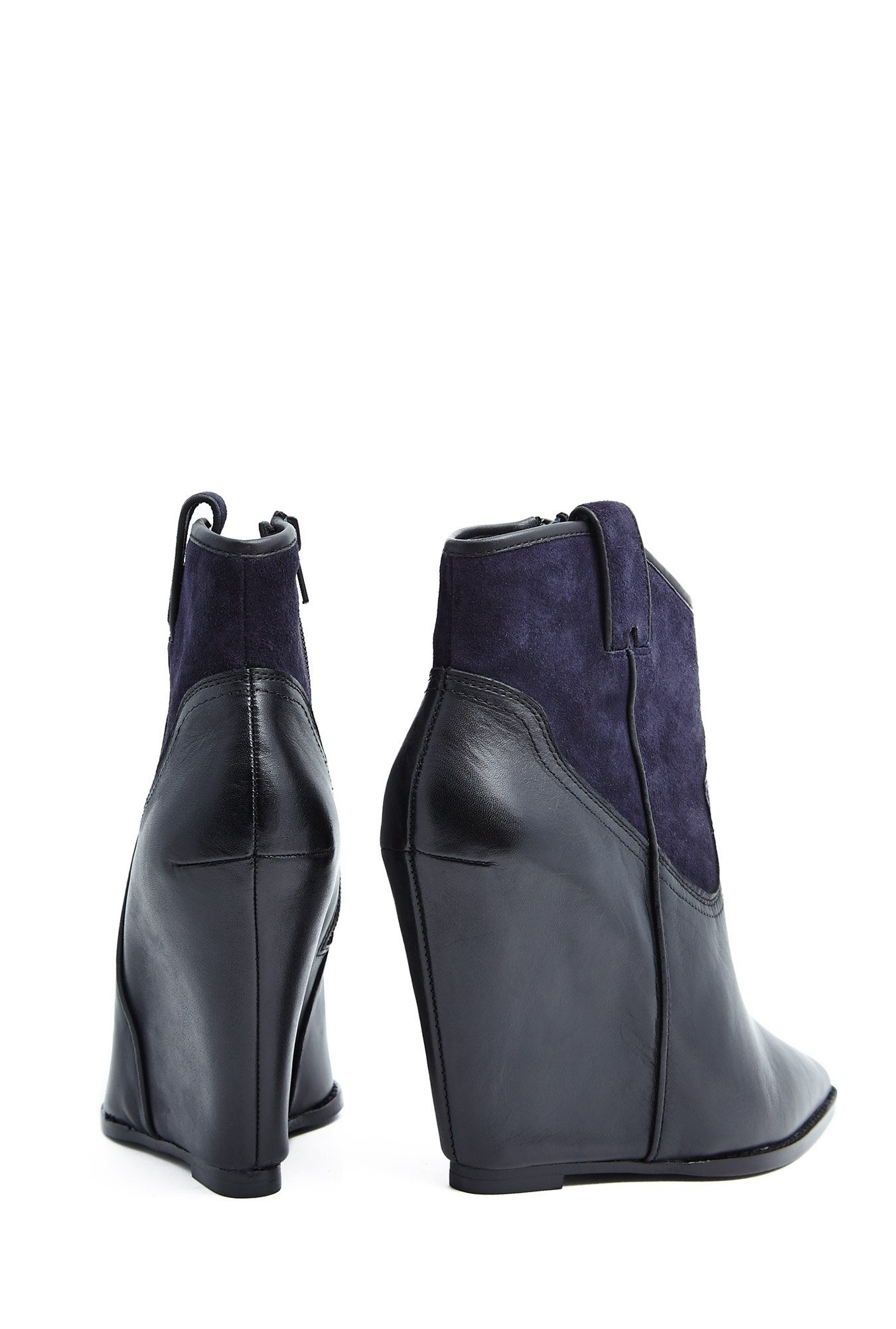 ash jude navy black contrast wedge boot in blue ash lyst