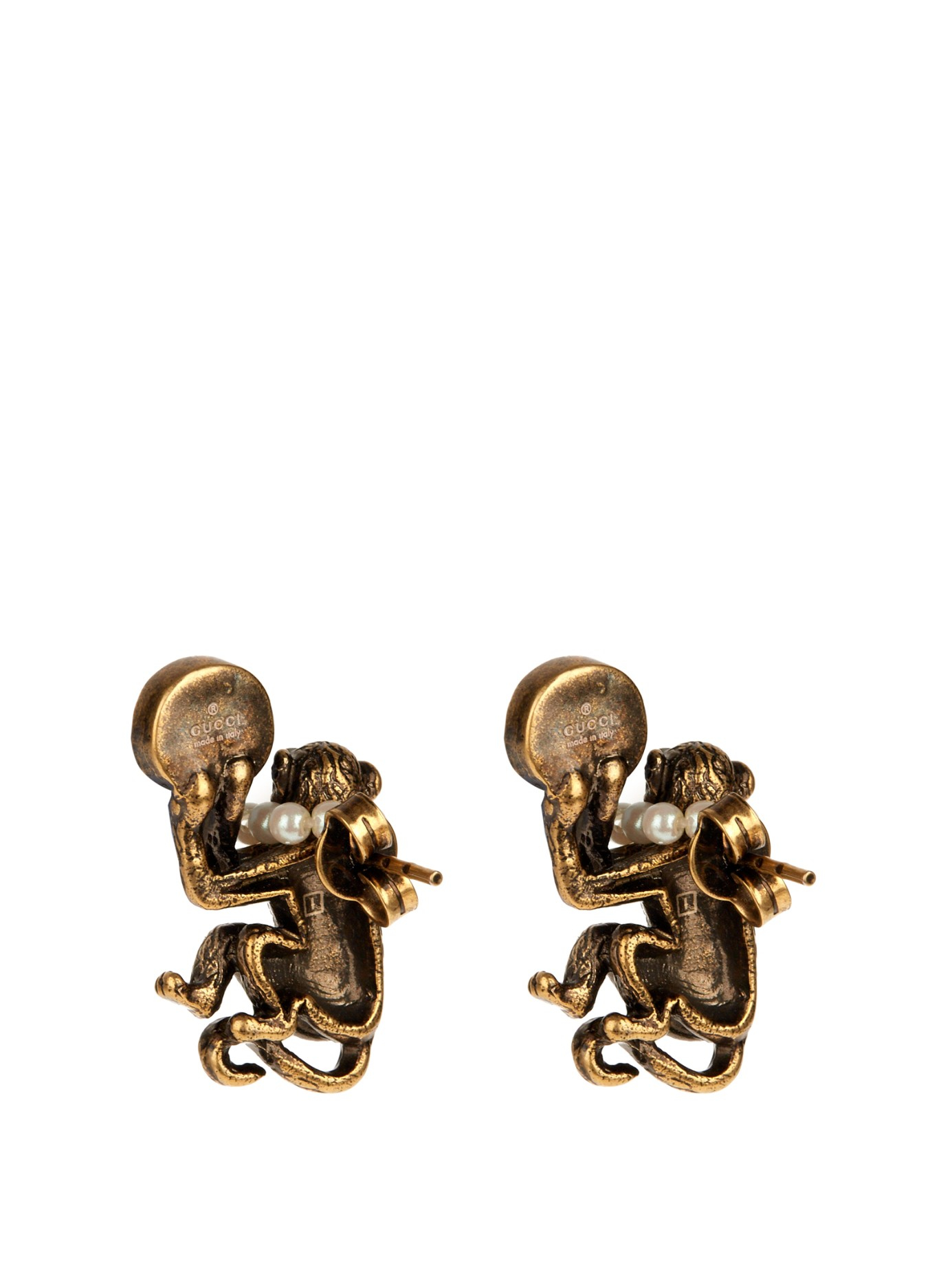 84513ae4ba3 Lyst - Gucci Pearl-effect And Brass Monkey Earrings in Metallic