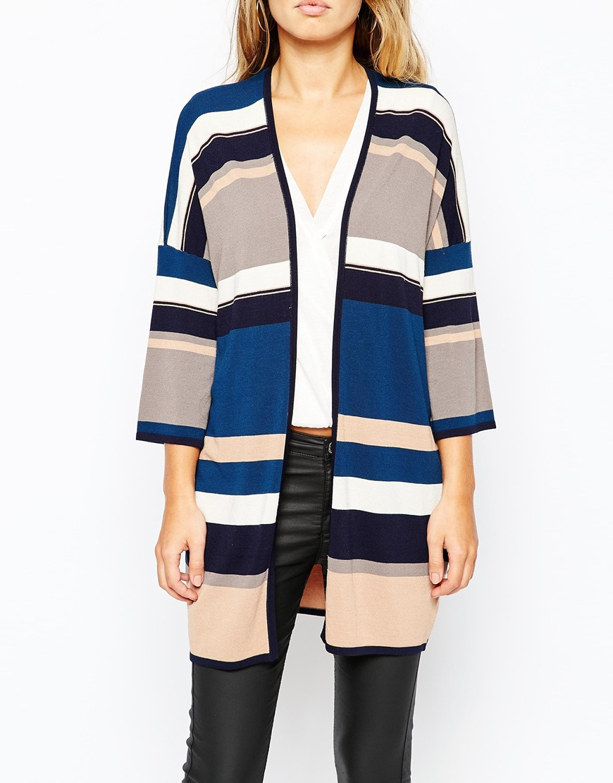 Warehouse Knitted Stripe Kimono in Brown | Lyst