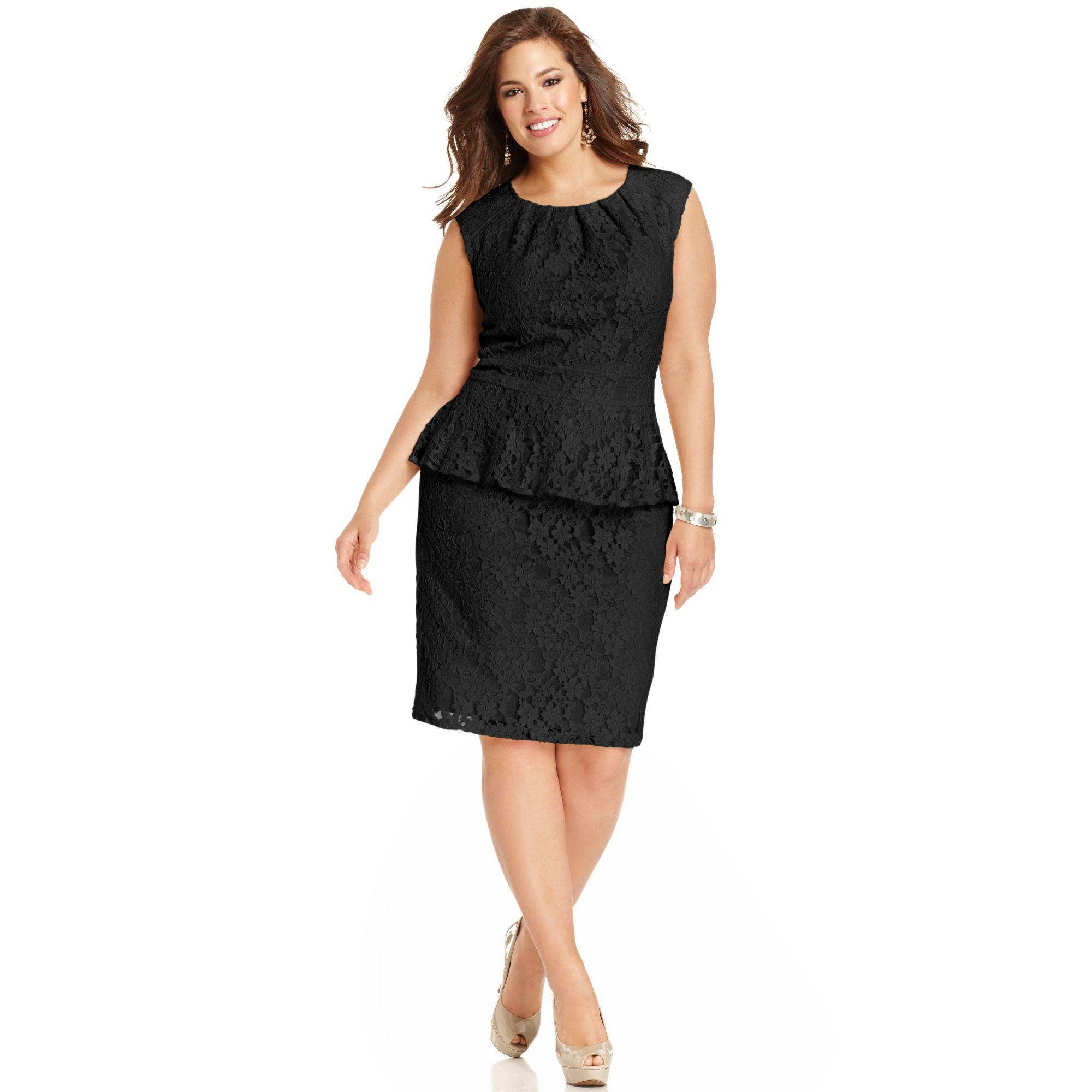 Plus Size Capsleeve Lace Peplum Dress