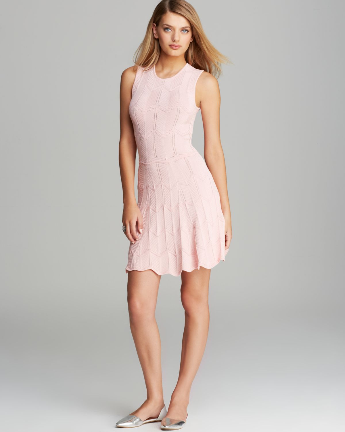 9484bf8075 Lyst - Torn By Ronny Kobo Dress Cori Zigzag Knit in Pink