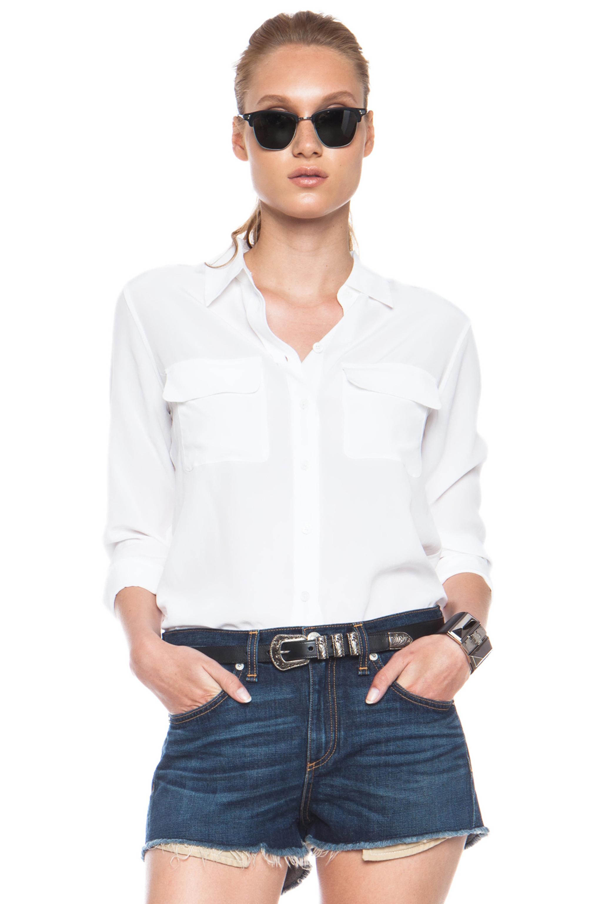 Equipment slim signature blouse white blouse styles for Equipment signature silk shirt