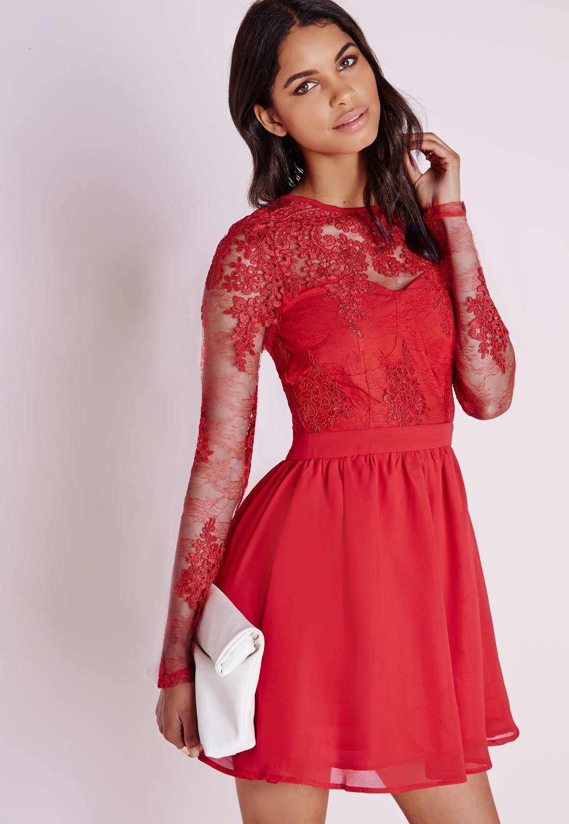 Premium Lace Long Sleeve Skater Dress Red