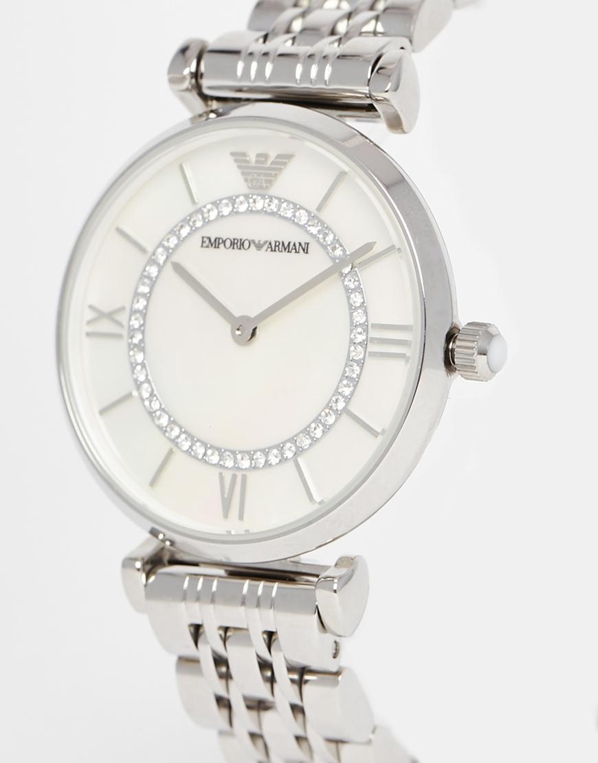 16331028 Emporio Armani Metallic Silver Gianni T Bar Watch