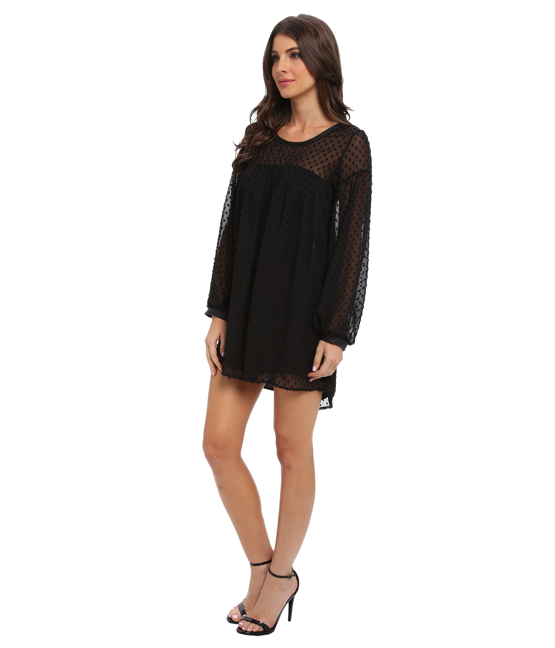 T bags Dot Chiffon Baby Doll Dress in Black ZI11 Print