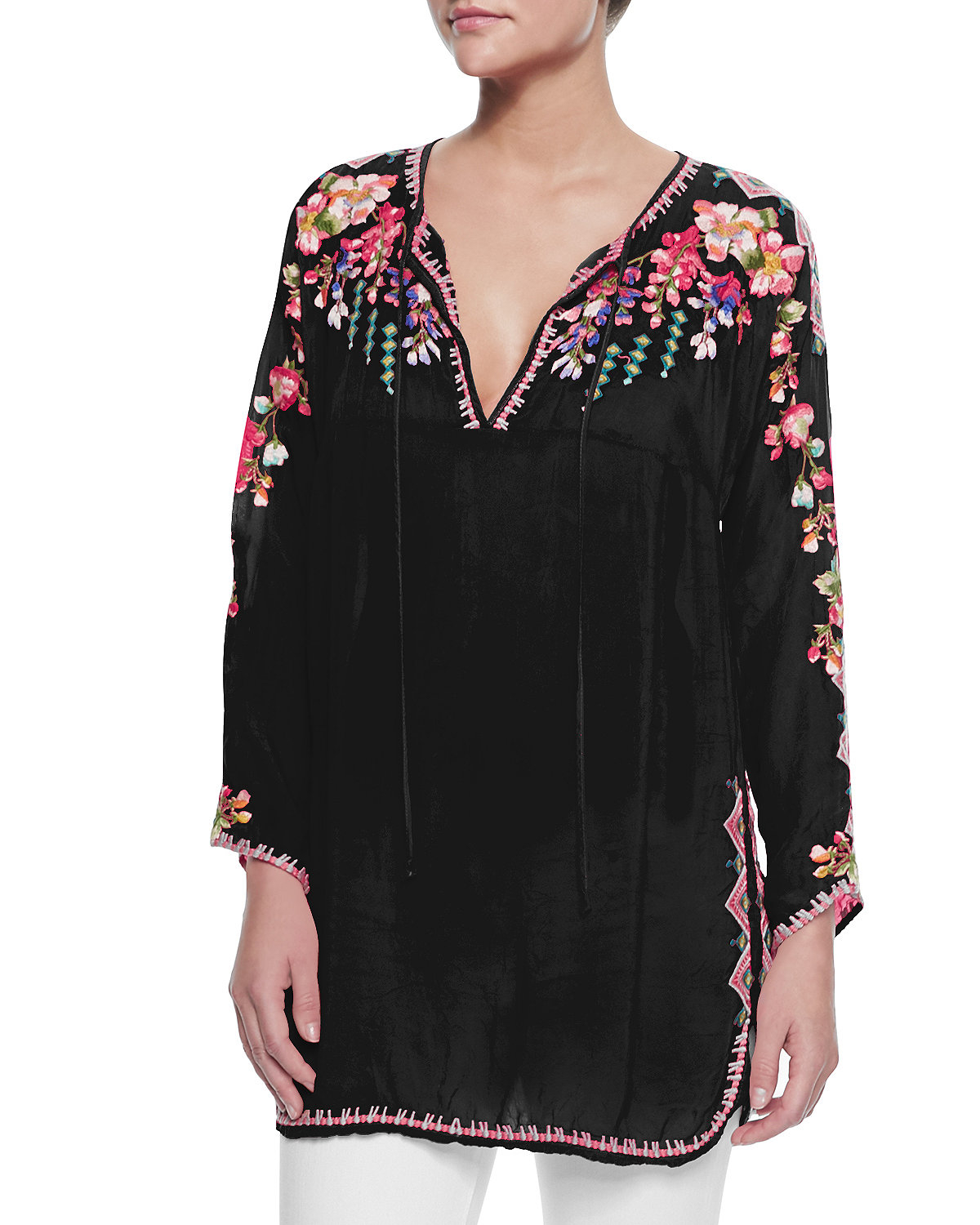 750e4179b579 Lyst - Johnny Was Vanessa Georgette Embroidered Tunic in Black