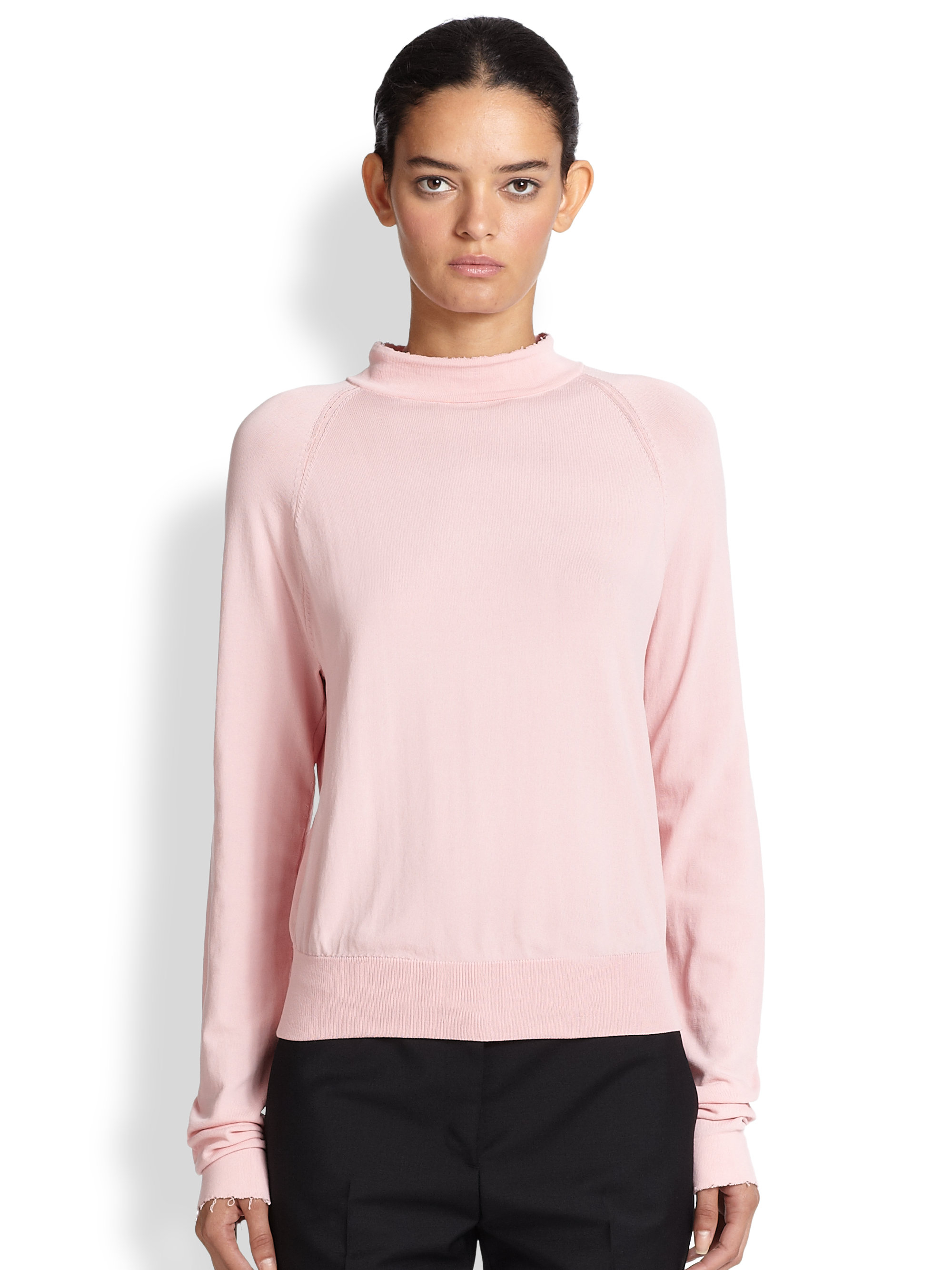 Acne studios Blossom Distressed Mockneck Sweater in Pink | Lyst