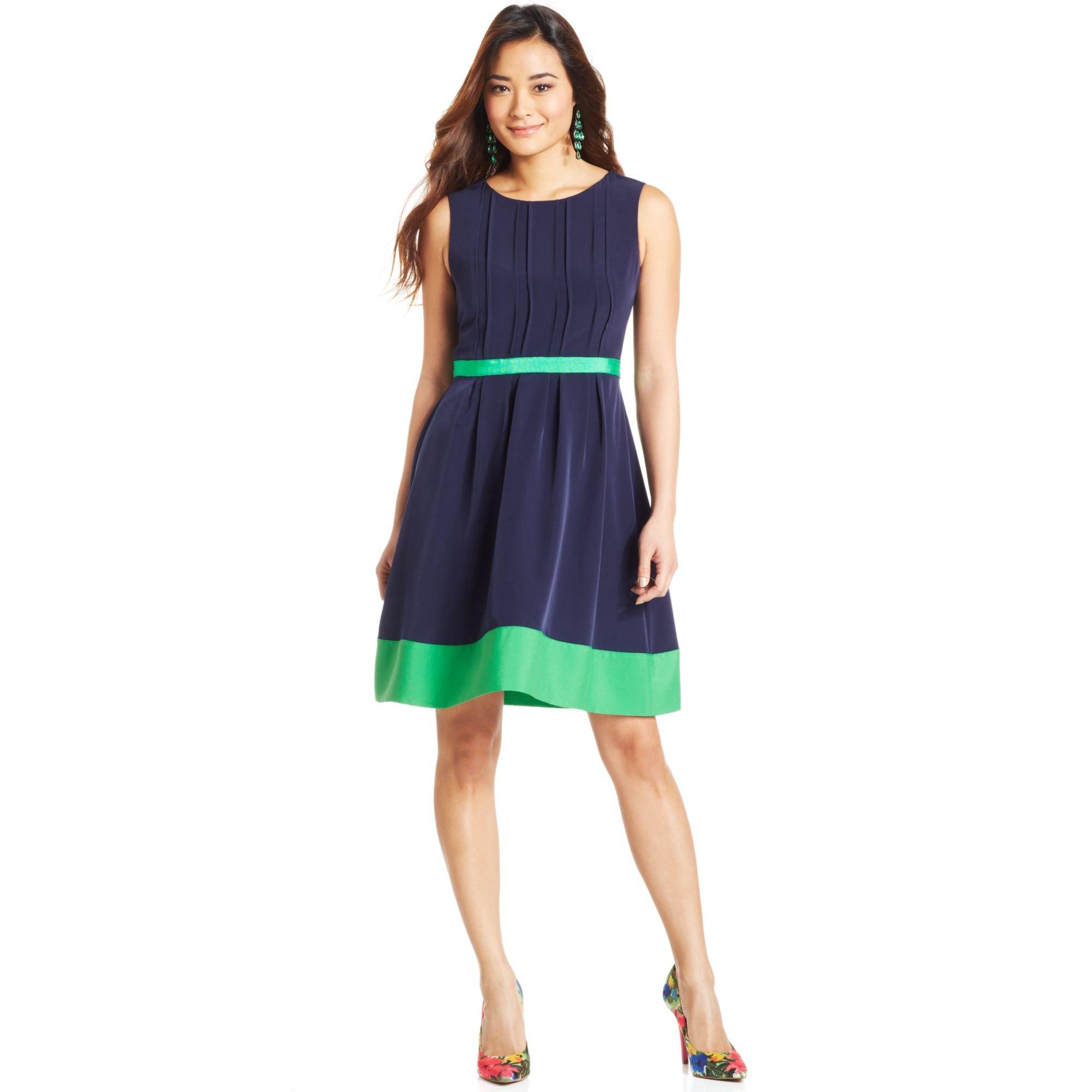 Jessica Simpson Sleeveless Colorblock Dress In Blue Lyst