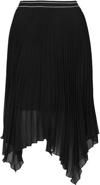 topshop black asymmetric pleated midi skirt size uk10