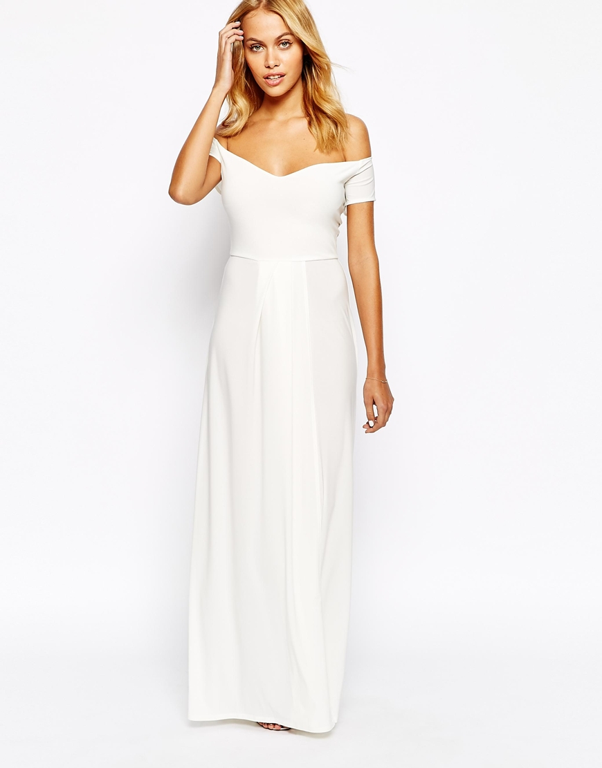 641652589789 Lyst - Love Off Shoulder Slinky Maxi Dress With Thigh Split in White